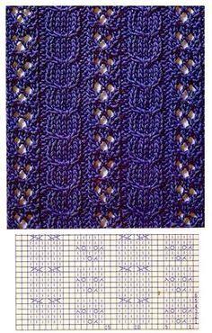 Lace Knitting Stitches, Cable Knitting Patterns, Knitting Charts, Knitting Designs, Lace Patterns, Stitch Patterns, Crochet Patterns, Gilet Crochet, Crochet Yarn