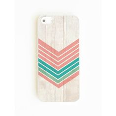 On Your Case Inc Wood Geometric Mint/Coral - Iphone 5/5s Case found on Polyvore