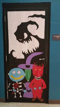 Nightmare before Christmas Halloween door. Here is my door for Halloween. Halloween Dorm, Halloween Classroom Door, Minion Halloween, Holidays Halloween, Outdoor Halloween, Halloween Room Decor, Halloween Party, Homemade Halloween, Dorm Door Decorations