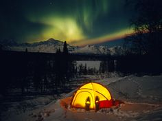 See the northern lights from a hot tub in Denali National Park, Alaska.