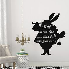 Alice In Wonderland Wall Decals Quote Rabbit By DecalsfromDavid