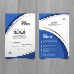 Blue White Wavy Brochure Template - FREE