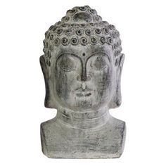 Urban Trends Cement Buddha Head Sculpture with Beaded Ushnisha on Base - 35707