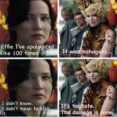 Lol haha funny / Hunger Games Humor / Effie / Katniss / Catching Fire the damage is done Hunger Games Jokes, Divergent Hunger Games, Hunger Games Fandom, The Hunger Games, Hunger Games Catching Fire, Hunger Games Trilogy, Catching Fire Funny, Game Quotes, Movie Quotes