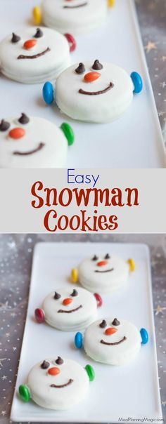 34 Fantastically Festive Christmas Dessert Ideas These Easy Snowman Oreo Cookies are so festive, delicious and great for kids to help make too. A perfect no bake treat option and only a few ingredients, they come together quickly too. Christmas Snacks, Xmas Food, Christmas Cooking, Holiday Treats, Holiday Recipes, Christmas Baking For Kids, Christmas Goodies, Christmas Candy, Christmas No Bake Treats
