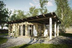 Projekt budynku rekreacyjnego, parterowego, nie podpiwniczonego, pokojem wypoczynkowym, aneksem kuchennym, pomieszczeniem gospodarczym i łazienką.