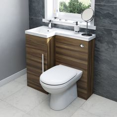 MySpace Walnut Left Handed Unit With Autograph Back To Wall Toilet