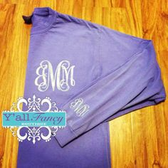 Long Sleeve Comfort Colors Monogrammed T by YallFancyBoutique