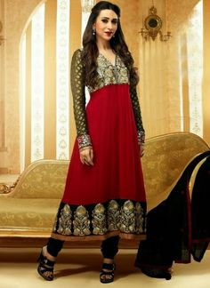 Karishma Kapoor Red and Black Anarkali Suit | Indian Trendz This Karishma Kapoor Red and Black Anarkali Suit is nicely designed with nice embroidery and resham work. Contrasting Payjami (bottom) and dupatta comes along with this anarkali suit. Accessories shown in this image is just for photography purpose. Slight variation in color and border patch is possible. This unstitched dress material can be customized upto size 44