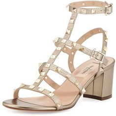 Valentino Rockstud Leather City Sandal (7.935 DKK) ❤ liked on Polyvore featuring shoes, sandals, alba, mid heel shoes, strap shoes, leather strappy sandals, strappy block heel sandals and genuine leather shoes