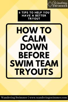 It's easy to feel anxious before tryouts. But there are also ways to help calm down before swim team tryouts. Try these 6 tips before your next tryout! Swim Team, Calm Down, Anxious, Encouragement, Swimming, Feelings, Tips, Easy, Sports