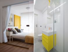 Mellow Yellow: 7 Soothing Apartments with Sunny Accents Modern Furniture, Home Furniture, Interior And Exterior, Interior Design, Small Bedroom Designs, Attic Spaces, Mellow Yellow, Yellow Black, Living Styles