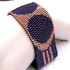 Art Deco Peyote Cuff -- Purple Medallions on Copper (2247)