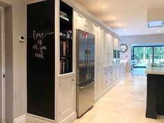 New Build Family Home ( Kitchen Reno, Kitchen Storage, Kitchen Design, Kitchen Ideas, Kitchen Chalkboard, Chalkboard Paint, Cornforth White, Hangout Room, Bespoke Kitchens