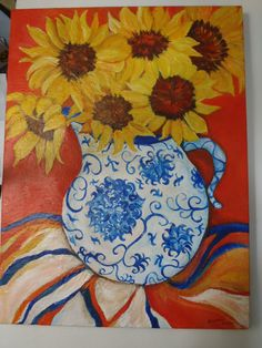 Vivid Sunflowers in Blue and White Vase Cobalt by SharonFosterArt, $95.00