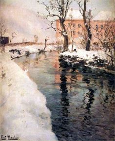 A River in the Winter - Frits Thaulow