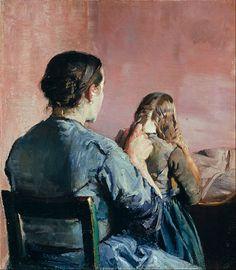 Krohg, Christian, (1852-1925), Braiding her Hair, 1888, Oil