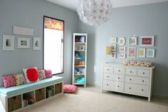 Mostly IKEA nursery - I like the use of the expedit bookshelf as windowseat, wonder how sturdy it is though?