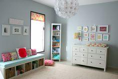 Mostly IKEA nursery - I like the use of the expedit bookshelf as windowseat, wonder how sturdy it is though?