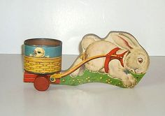Fisher Price 5 Bunny Cart Easter Pull Toy from 1948-1949