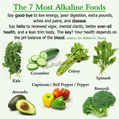 The 7 Most Alkaline Foods ~ Say good-bye to low energy, poor digestion, extra pounds, aches and pains, and disease. Say hello to renewed vigor, mental clarity, better over-all health, and a lean trim body. The key? Your health depends on the pH balance of the blood.