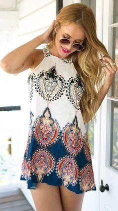 women's fashion Boho Paisley Print Halter Shift Dress