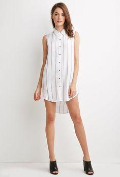 Striped Collar Shirt Dress - Dresses - 2000140884 - Forever 21 EU English