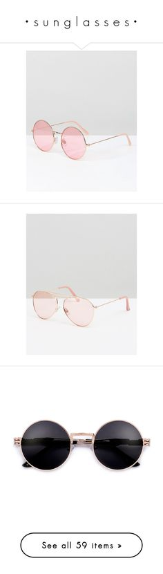 """• s u n g l a s s e s •"" by sixteen-ten ❤ liked on Polyvore featuring accessories, eyewear, sunglasses, pink, rose gold lens sunglasses, tinted sunglasses, beach sunglasses, pink sunglasses, pink round sunglasses and tinted lens sunglasses"