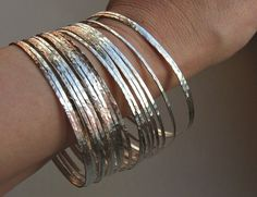 7 Thin Hammered Sterling Silver Stacked Bangles 7 Bracelets