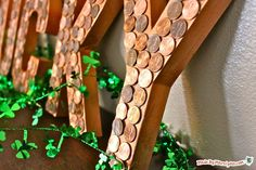 """This Lucky Penny decor looks like a million bucks for St. Patrick's Day! How to:paper mache lettersacrylic paint , copperhot glue gunhot glue stickspennies (about $3)Mod Podge1 You'll need to purchase letters to spell out """"LUCKY."""" You can find letters like this in craft stores, in paper mache or wood. 2 Begin by painting the …"""