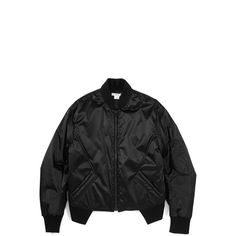 Helmut Lang Cropped Bomber ($279) ❤ liked on Polyvore featuring outerwear, jackets, coats & jackets, tops, bomber style jacket, quilted jacket, black quilted jacket, pocket jacket and blouson jacket