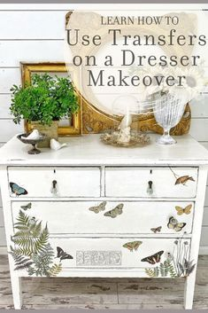 Looking for a quick and easy dresser makeover idea? Check out this video tutorial showing you how to use IOD Decor Transfers on a vintage white painted dresser. Perfect for anyone who loves to DIY home decor but doesn't have a ton of time! Wholesale Home Decor, White Painted Dressers, Upcycle Decor, Diy Vintage Decor, Furniture Makeover Diy, Creative Home Decor, Diy Home Decor, Home Diy, Diy Furniture