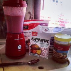My own Spark Breakfast Smoothie recipe! :)  1 cup frozen summer fruit blend (peaches, strawberries, blackberries) 2 tablespoons plain non-fat yogurt 2 tablespoons peanut butter 1 packet Spark mango strawberry flavor 1/2 cup water  Sooooo yummy!!!