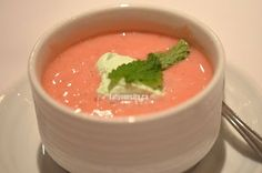 Strawberry chilled soup with mint foam