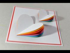 How to Make - Valentine's Day Card Rainbow Heart Greeting Card - Step by Step   Kartka Na Walentynki - YouTube