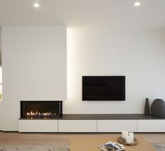 New Living Room Modern Fireplace Ideas Small Fireplace, Home Fireplace, Living Room With Fireplace, Fireplace Design, Fireplace Ideas, Fireplace Stone, Fireplace Modern, Fireplaces With Tv Above, White Fireplace Surround