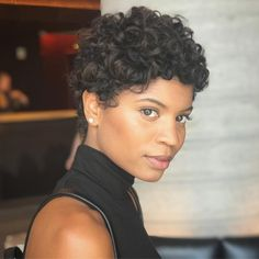 Warning: These 20 Inspo Pics Will Make You Want to Chop Your Curly Hair If you're in the mood to finally make the big chop and cut off all your curls, you're going to love our roundup of the best short curly hairstyles to try ASAP. Short Curly Hair Black, Curly Hair With Bangs, Curly Hair Cuts, Short Hair Cuts, Curly Hair Styles, Natural Hair Styles, Natural Hair Pixie Cut, Short Curly Pixie, Curly Pixie Haircuts