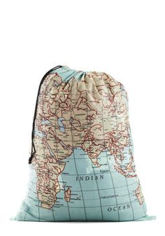 The World In Your Hands: Chances are laundry isn't your favorite chore, but this travel-inspired bag at least lends an air of allure to the process.
