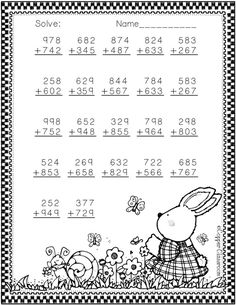 Easter Themed 3 Digit Addition With Regrouping by Copper Classroom Math Practice Worksheets, Printable Math Worksheets, Subtraction Worksheets, School Worksheets, Worksheets For Kids, Primary Lessons, Math Lessons, Math Sheets, Teaching Math