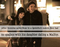 Ron had no problem with his daughter dating a Malfoy after Scorpius saved Rose in a quidditch match.