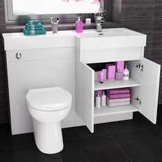Serene White Double Door Bathroom Furniture Suite With Toilet and Basin - Bathroom Furniture - Combined Vanity Furniture ThinkTaps Small Bathroom With Shower, New Bathroom Ideas, Diy Bathroom Decor, Bathroom Interior Design, Bathroom Inspiration, Small Bathrooms, Bathroom Inspo, Bathroom Designs, Bathroom Paneling