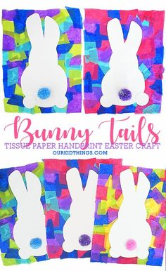 So excited about our Handprint Bunny Tail Craft, with cute cotton tails on a bunny made from a little ones hand in a background of colorful tissue paper. Kindergarten Crafts, Daycare Crafts, Classroom Crafts, Preschool Crafts, Preschool Easter Crafts, Easter Arts And Crafts, Spring Crafts For Kids, Crafts For Children, Spring Crafts For Preschoolers