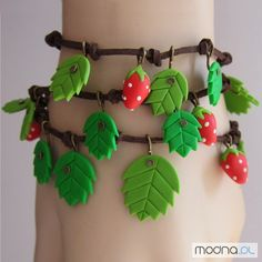 pretty polymer clay leaves & berries bracelets  Beltaine?