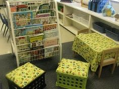 My reading area - crate seats, plus a small table with a tablecloth to match!