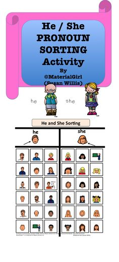 This is a basic HE and SHE sorting activity. It is to help the student distinguish the difference between male and female and reinforce use of the correct pronoun. Icons of male/female figures are from Boardmaker software.