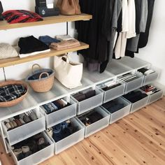 If you were wondering how the inside of the drawers looked like in my recent post of this closet, of course it's KonMari folded and… Closet Drawers, Closet Storage, Bedroom Storage, Muji Storage, Storage Spaces, Home Organisation, Closet Organization, Minimalist Closet, Diy Rangement