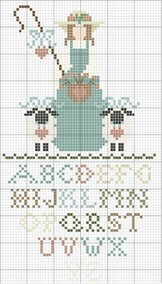Schema punto croce Shepherdess With Alphabet