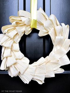 corn husk wreath @At The Picket Fence