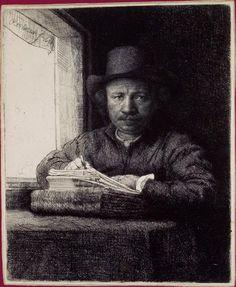 BNF - Rembrandt, Autoportrait de l'artiste dessinant (gravant?) près d'une fenêtre, 1648, British Museum, Londres