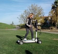 Motorized Skateboard by Golfboard. - Invented by Mike Radenbaugh » The Kickstarter reached its goal of $100,000 and now plans to have 6000 boards out by Summer 2014. Top speed: 12mph. Cost: $3,500 or available to rent at participating golf courses. The pole is removable and so the board can function exactly like a motorized skateboard or in caddy mode it can carry all of your clubs! Can cross grassy terrain easily. Featured on CNN's Technovations Nov 22, 2013…